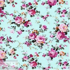 Ткань хлопок «Роза Виктория на бирюзовом», JL-00050