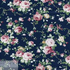 Ткань хлопок «Роза Виктория на тёмно-синем», JL-00051
