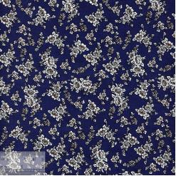 Ткань хлопок «Букетики на тёмно-синем», JL-00055, 75х50см