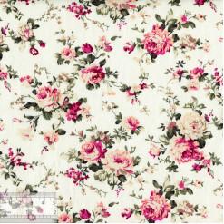 Ткань хлопок «Роза Виктория на молочном», JL-00066, 75х50см