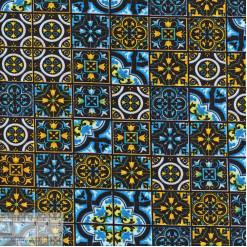 Ткань хлопок «Изразец синий», JL-00072, 75х50см
