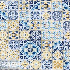 Ткань хлопок «Лапчатка на синем», JL-00073, 75х50см