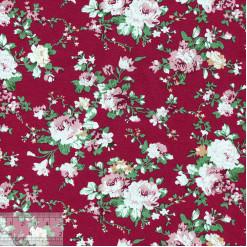 Ткань хлопок «Роза Виктория на красном», 75х50см, JL-00103