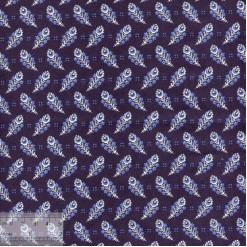 Ткань хлопок «Пёрышки на тёмно-синем», 75х50см, JL-00105