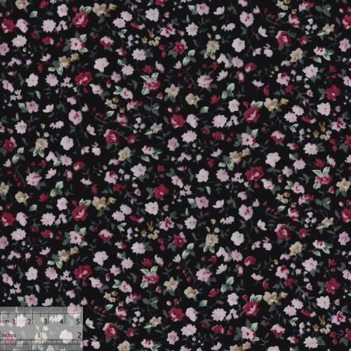 Ткань хлопок «Розовый вьюнок черный», ZT-00020