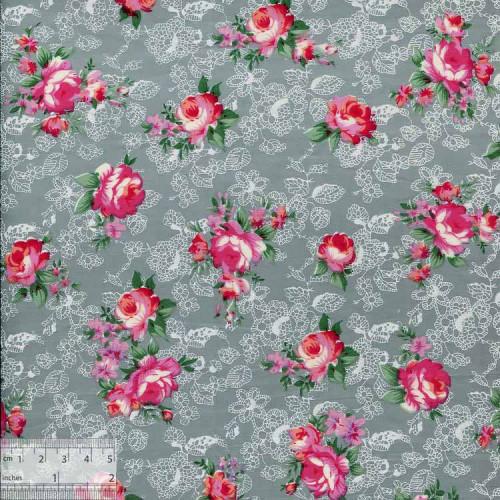 Ткань хлопок «Роза Моника серый», ZT-00030
