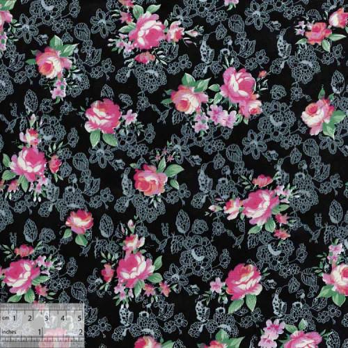 Ткань хлопок «Роза Моника чёрный», ZT-00031