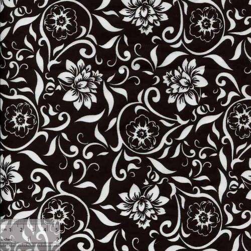 Ткань хлопок «Георгин на чёрном», ZT-00039