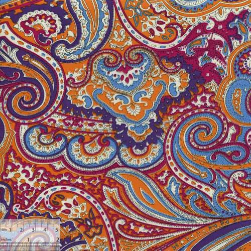 Ткань хлопок «Индийский огурец малиновый», ZT-00046