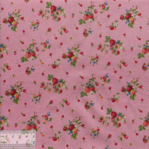 Ткань хлопок «Землянички на розовом», ZT-00052