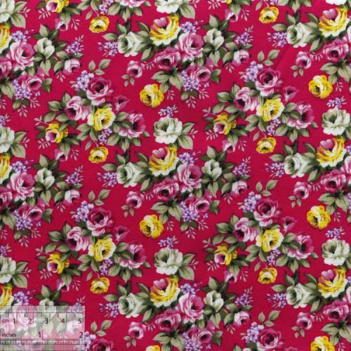 Ткань хлопок «Майские розы на малиновом», ZT-00061