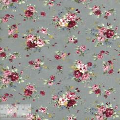 Ткань хлопок «Роза Утопия на сером», ZT-00069