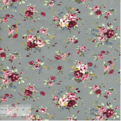 Ткань хлопок «Роза Утопия на сером», ZT-00069, 75х50см