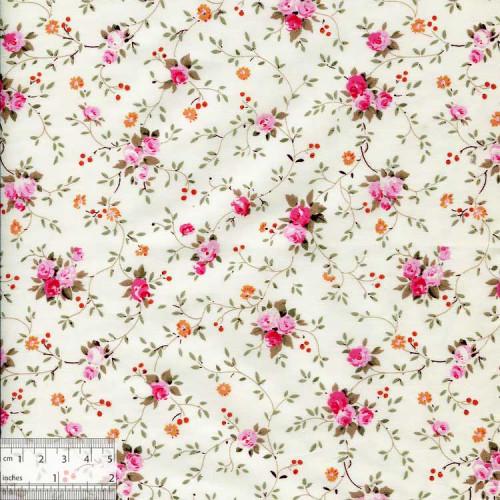 Ткань хлопок «Розочки плетистые на сливочном», ZT-00070