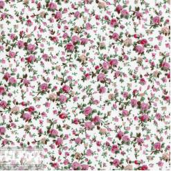 Ткань хлопок «Роза мини на белом», 75х50см, ZT-00076