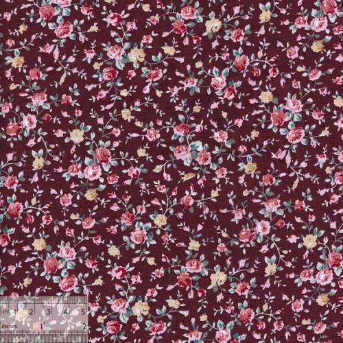 Ткань хлопок «Роза мини на коричневом», ZT-00077