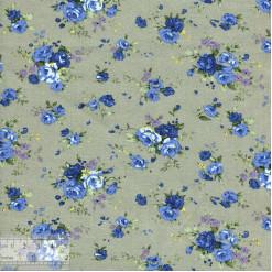 Ткань хлопок «Роза Утопия голубая на сером», ZT-00080