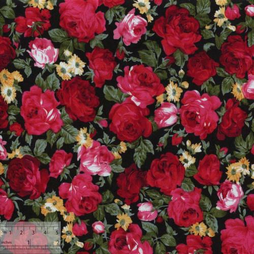 """Ткань хлопок """"Дамасская роза красный"""""""