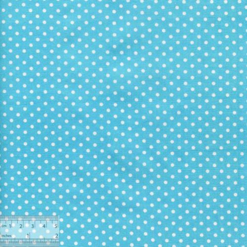 Ткань хлопок «Белый горошек на голубом», ZT-00090