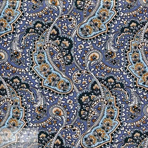Ткань хлопок «Восточный огурец на серо-голубом», ZT-00109
