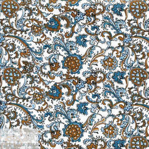 Ткань хлопок «Гранат сине-бежевый», ZT-00118