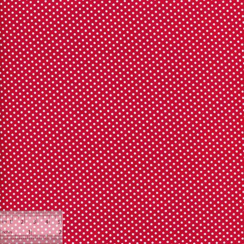 Ткань хлопок «Белые горошки на красном», ZT-00119