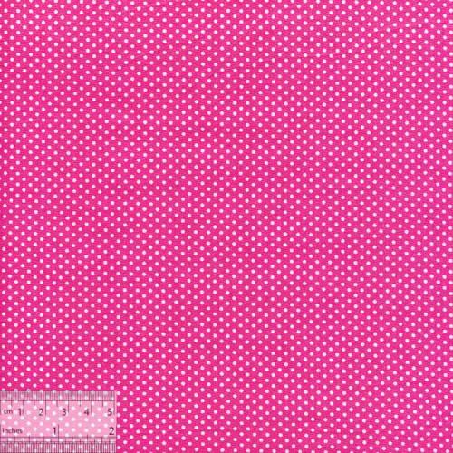 Ткань хлопок «Белые горошки на розовом», ZT-00120