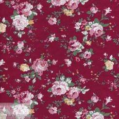 Ткань хлопок «Роза Виктория на красном», ZT-00125