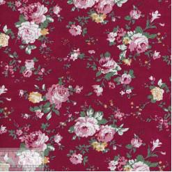 Ткань хлопок «Роза Виктория на красном», ZT-00125, 75х50см