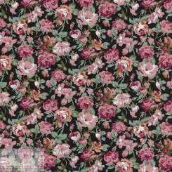 Ткань хлопок «Роза Мейди на чёрном», ZT-00126